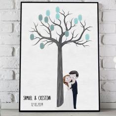 Lienzo árbol de huellas pareja novios
