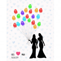 Lienzo árbol de huellas pareja novias globos