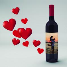 Botella vino tinto con foto