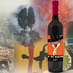 Botella vino tinto con Arte