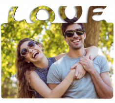 Portafotos madera LOVE