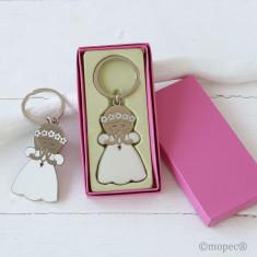 Llavero niña vestido blanco Comunión 5,7cm.en caja regalo